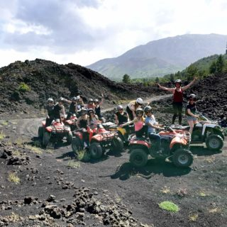 Group gilrs Etna quad tours lava